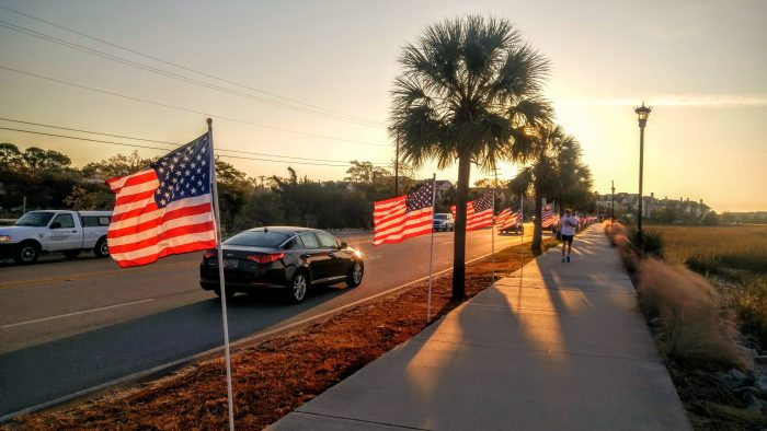 Honoring all those who have served the United States of America in the armed forces... the beautiful flag display onLockwood Boulevard.
