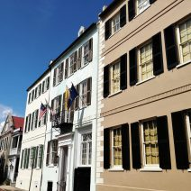 These houses on Church Street date back to the late 1700's (the one flying the flags was built in 1796). This part of Church Street is paved with bricks. It's one of the few places you will find that in Charleston.