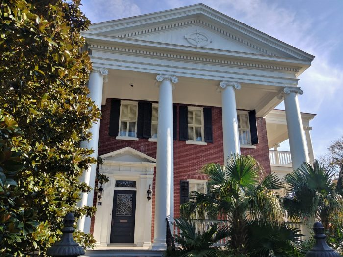While relatively new by downtown Charleston standards, this 1908 house on Lamboll Streetholds its own with some of its neighbors.