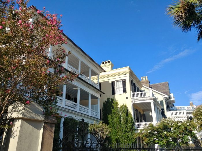 These wonderful houses on South Battery are directly across from the beautiful White Point Garden. Each of their porches has a fantastic view of the park.