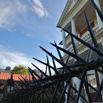 The ironwork along the top of the wall in front the of the Miles Brewton House on King Street is perhaps the most visible and significant example of chevaux de frise iron in Charleston. Scary.