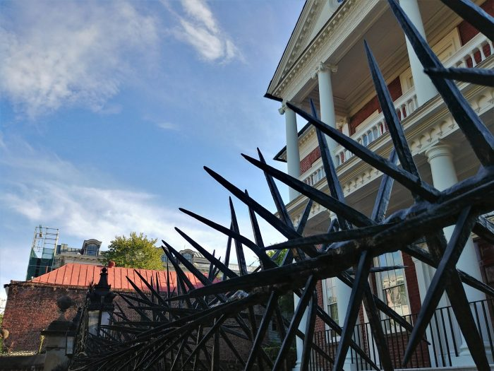 The ironwork along the top of the wall in front the of the Miles Brewton House on King Street is perhaps the most visible and significant example ofchevaux de frise iron in Charleston. Scary.