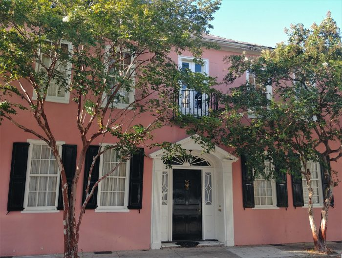 This eye-catching pre-revolutionary pink house (c. 1740) on Tradd Street is framed by two crepe myrtle trees, which can be easily identified by their distinctive blotchy bark.