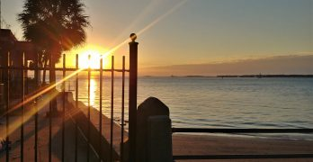 A glorious Charleston sunrise. Directly to the left of this fence is the Capt. James Missroon House, that now is home to the Historic Charleston Foundation. One of the most interesting things about the building is that it was a house that was built around -- and engulfed -- a smaller house.