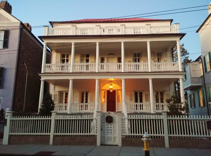 This c. 1835 house on South Battery glows in the early evening. At the time it was built it would have had a great view of the Ashley River. The 1910 Murray Boulevard project changed all that.