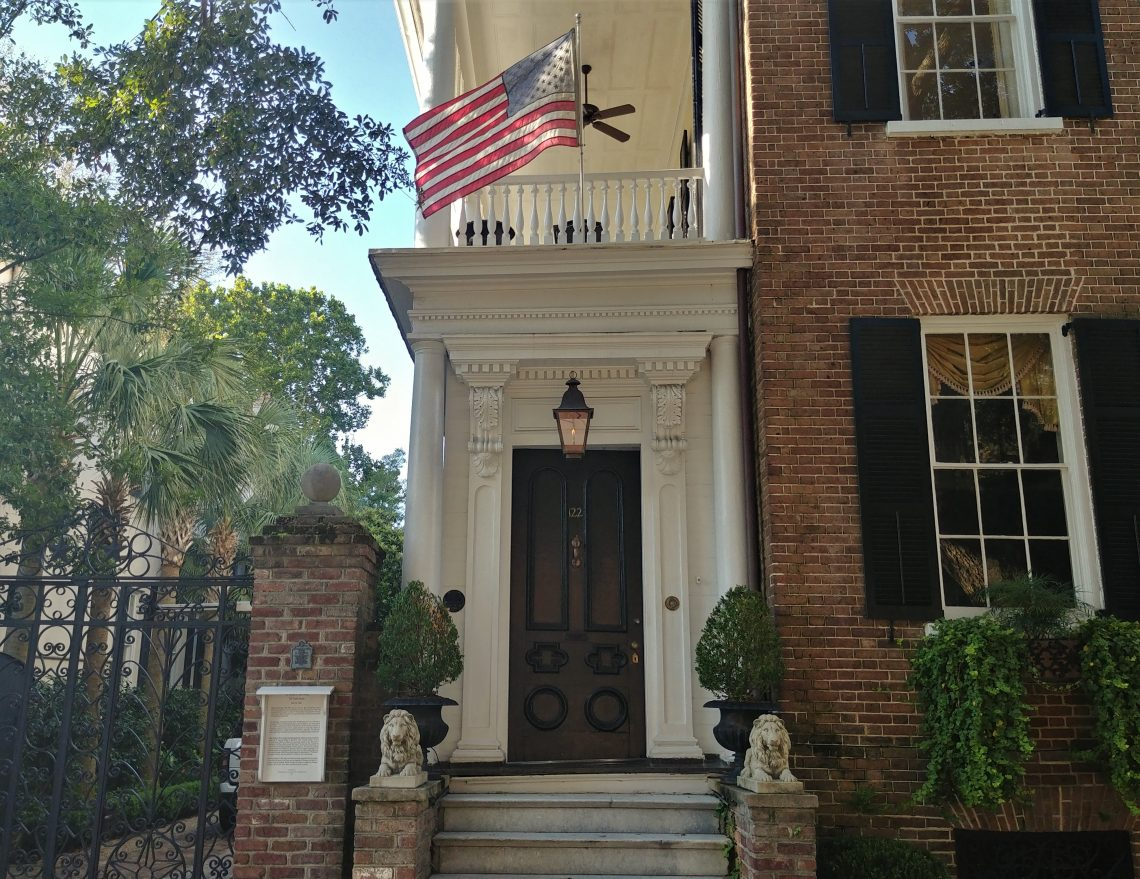 This beautiful entrance on Tradd Street leads into a house built c. 1850 by William C. Bee, the owner one of the leading blockade running businesses in Charleston.