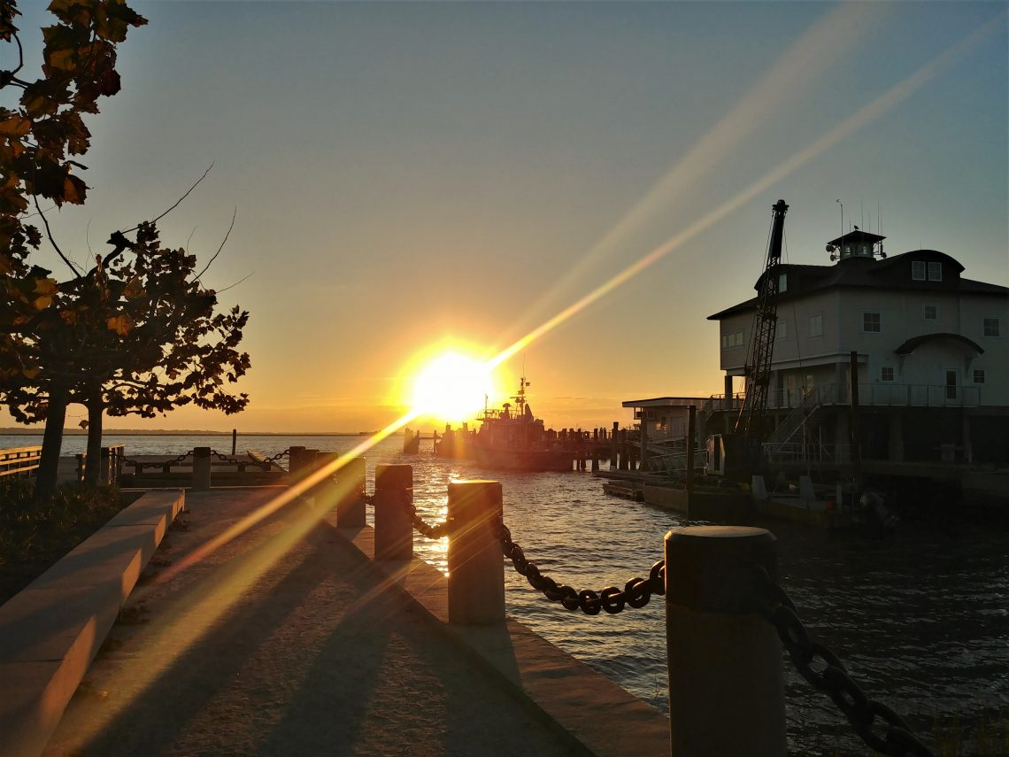 The Joe Riley Waterfront Park is one of the great places to see the sunrise in Charleston.