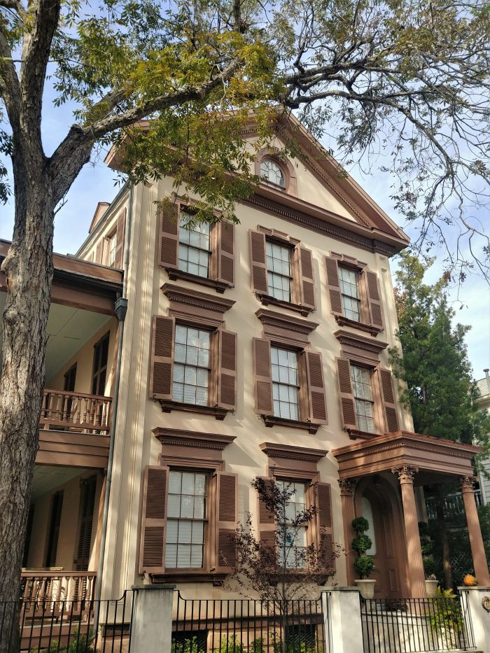 Built in 1850, this architecturally diverse house on Franklin Street was home to French consul in the 1870's and 1880's.