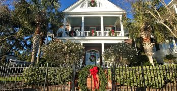 This beautiful house, on Murray Boulevard, is nicely dressed for the holidays. With a wonderful view of the Low Battery and the Ashley River, whether look at or from the house.