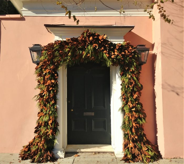 Some serious holiday trimming on this 1740 house on East Bay Street. An interesting story about the house is that the first resident, Anne Boone, was the granddaughter of one of the people who executed King Charles I in 1649 -- leading to his son moving to Charleston as a refugee.