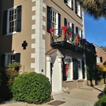This beautiful house on East Bay Street is well dressed for the holidays.  Built in 1783, it was a rental property that even had a grocery store in the bottom at one point. The earthquake rod or bolt, the end of which is visible in the big black cross, was likely added later to help shore up the property.