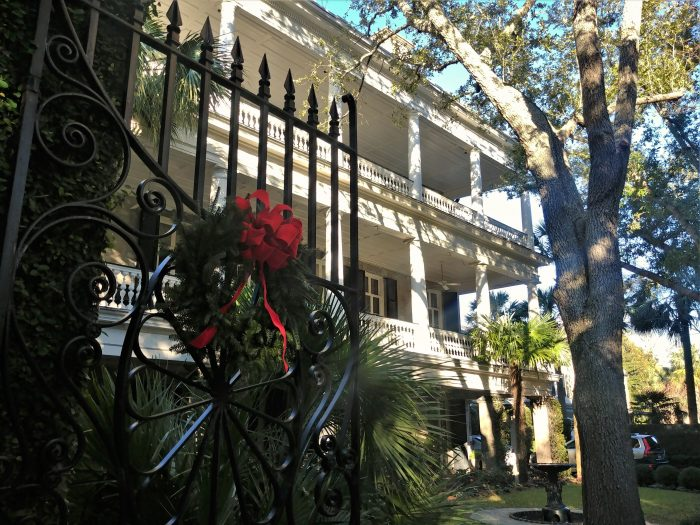 The beautiful gates at 10 Legare Street are dressed up for the holidays. Classic Charleston.