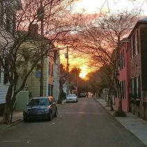 Looking west on Tradd Street, which is one of the few streets to traverse the entire Charleston peninsula, is a beautiful way to see the setting sun.