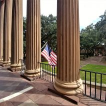These columns are part of the front of Randolph Hall on the campus of the College of Charleston. One of the oldest college buildings still in use in the United States, Randolph Hall is now the home for much of the administrative functions of the college.