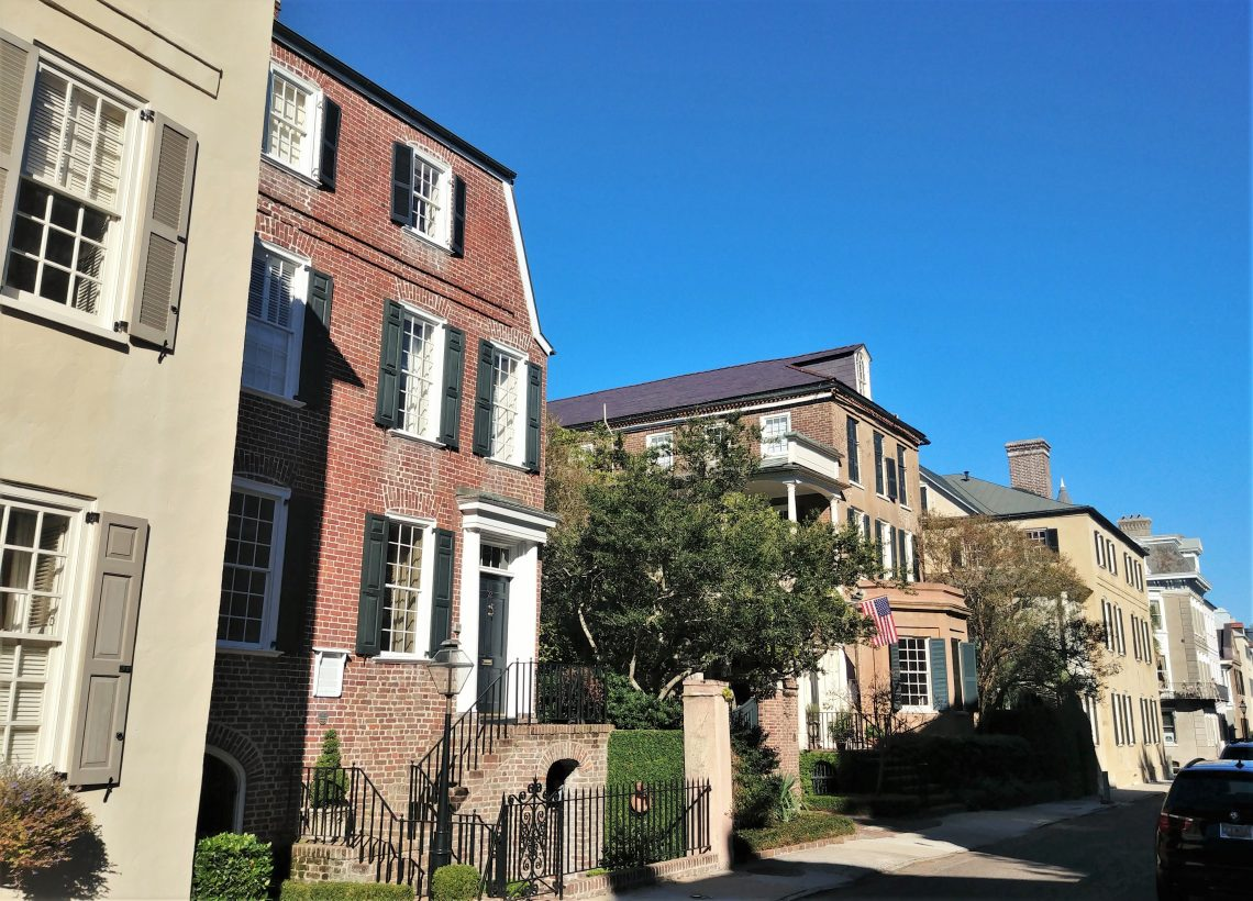 A beautiful stretch of pre-Revolutionary houses on Tradd Street. While  the gambrel roof form on the brick tenement on the left was once common in Charleston in the mid 18th century, only a few examples of it still survive.