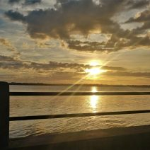 The sun setting over the Ashley River -- one of the two which create the Charleston peninsula (the other being the Cooper River).