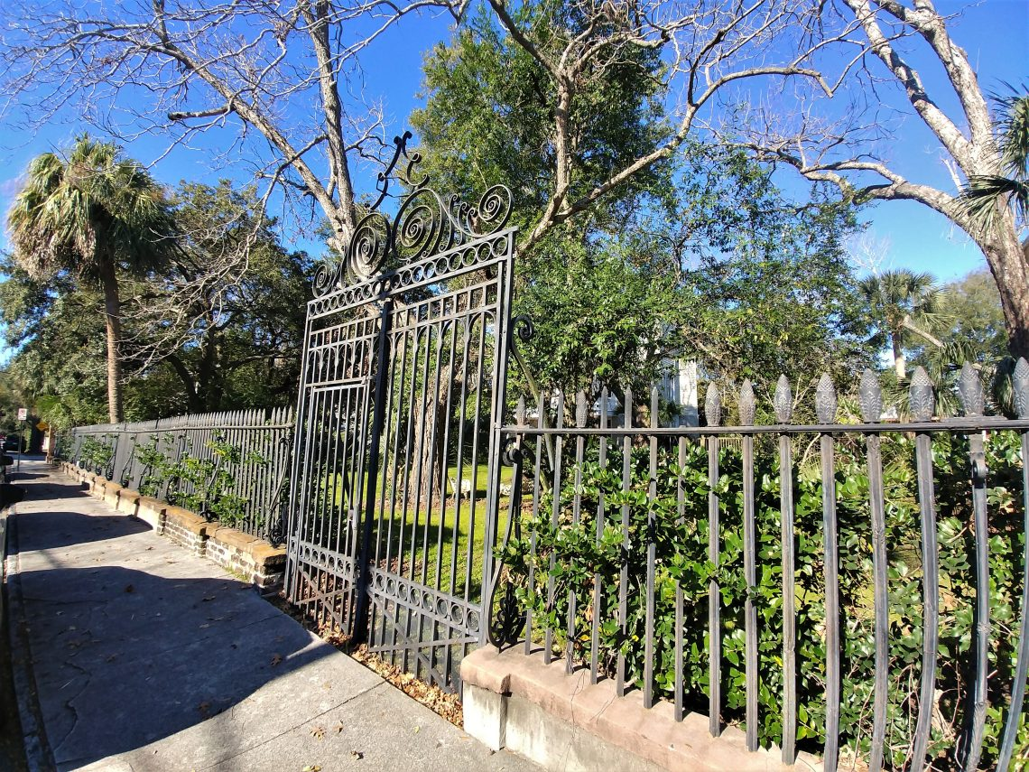 "This fence and gate on Vanderhorst Street help frame a house located on Thomas Street -- that was built and sold in 1833 to Robert Barnwell Rhett, who was best known as the ""Father of  Secession."""