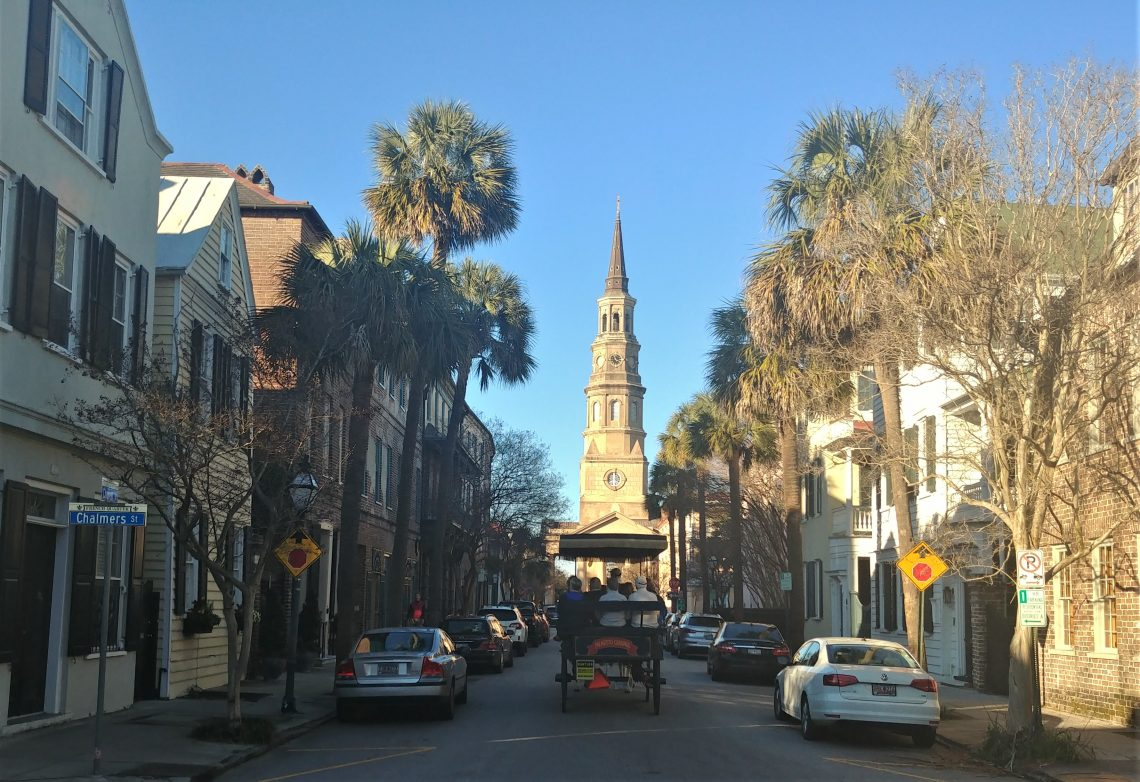 A classic Charleston scene. St. Philip's is certainly one of the iconic churches in the Holy City. While this church building was erected in 1836 (it being the third one for the congregation), the steeple was added between 1848 and 1850.