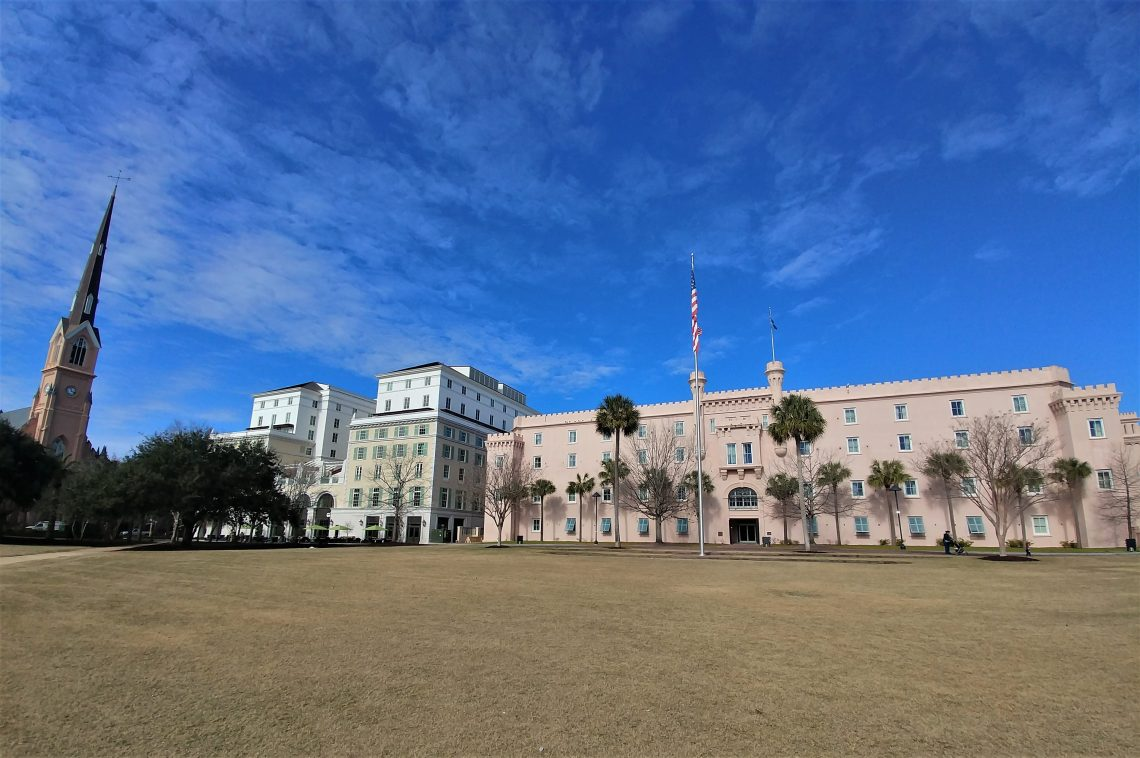 Before being renamed in honor of the Swamp Fox, Francis Marion, this open space at the heart of downtown was called Citadel Green or Citadel Square. The pink building was the original site of the Citadel.