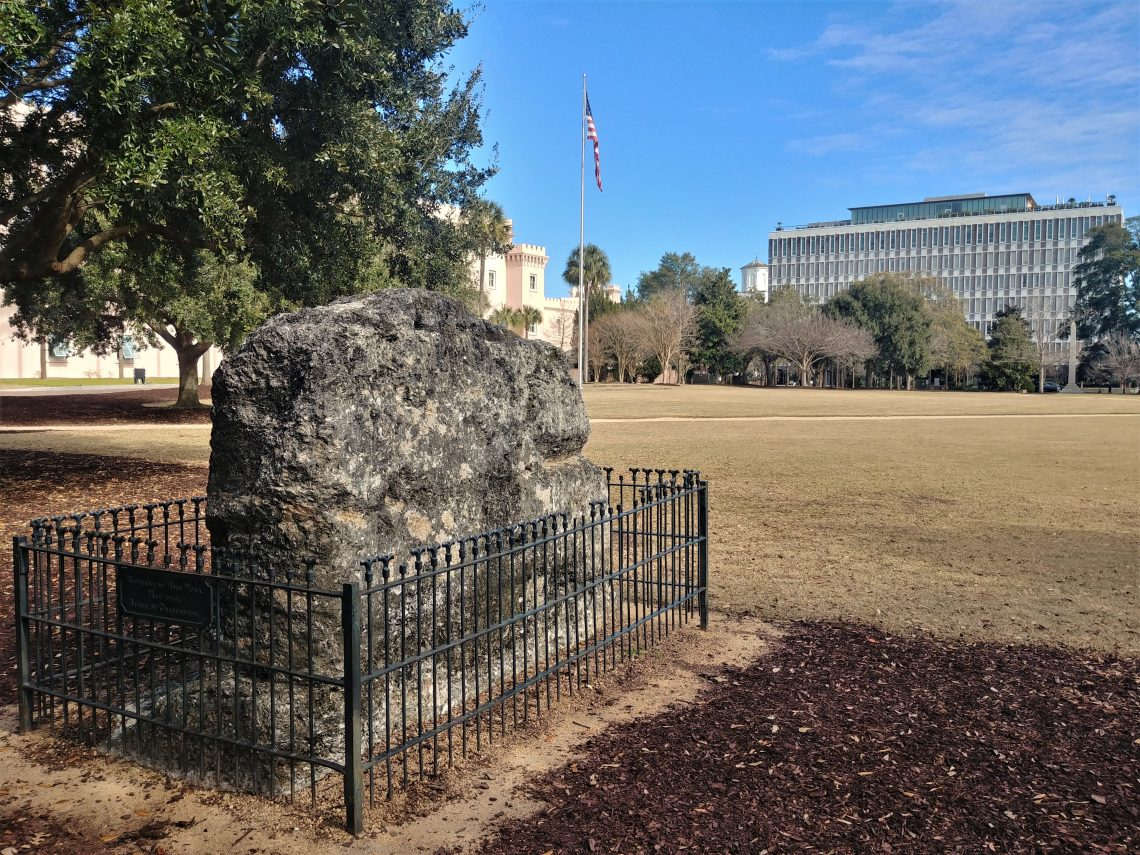 This fenced-in outcropping is the last visible remnant of a Revolutionary War structure called the Horn Work. Part of Charleston's colonial fortifications, amazingly the Horn Work was a tabby fort the size of Fort Sumter. Covering over 5 acres, it had 18 cannons, and was surrounded on the north side by a moat 10 yards wide.