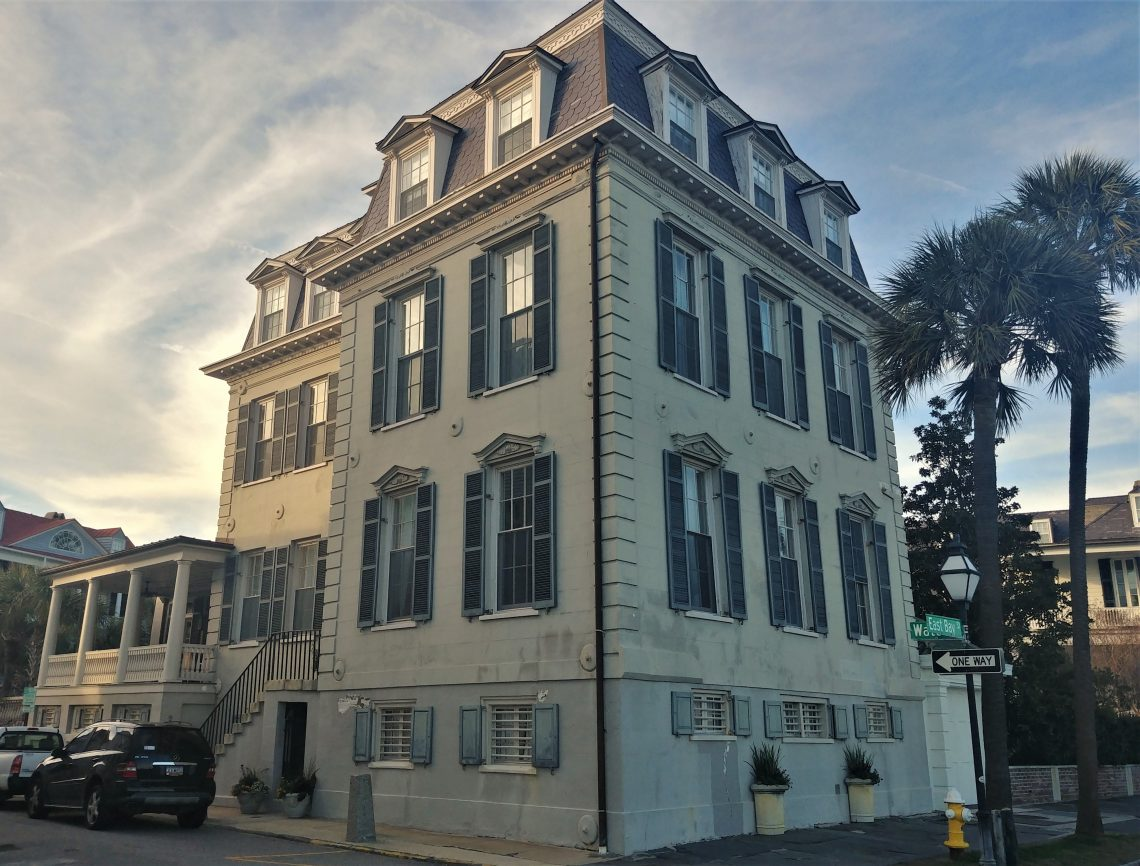 "This gorgeous house -- whose front door is on Water Street, but which is oriented to Charleston Harbor -- was built by Nathaniel Ingraham in about 1818. Ingraham had previously served on the American navy ship the Bonhomme Richard, under the command of  John Paul Jones (who is credited with saying, ""I have not yet begun to fight)."