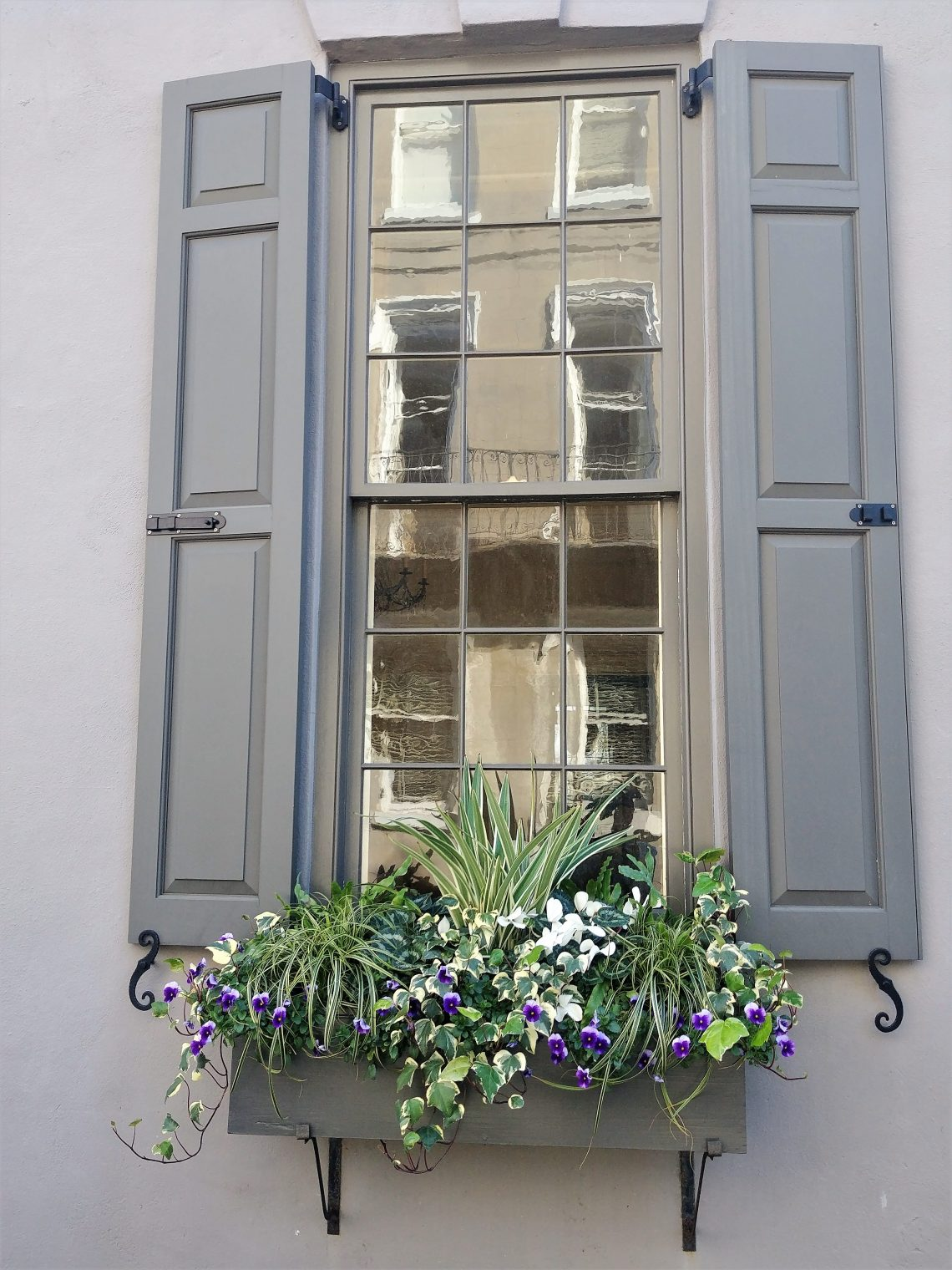 This beautiful window and flower box belong to 58 Meeting Street, which was built sometime before 1772. Caught in the reflection is 60 Meeting Street, across Tradd Street -- which, while built in the 1740s, in recent years has been well known for dressing up in hats on certain holidays (a witch's hat on Halloween and a Santa hat for Christmas).