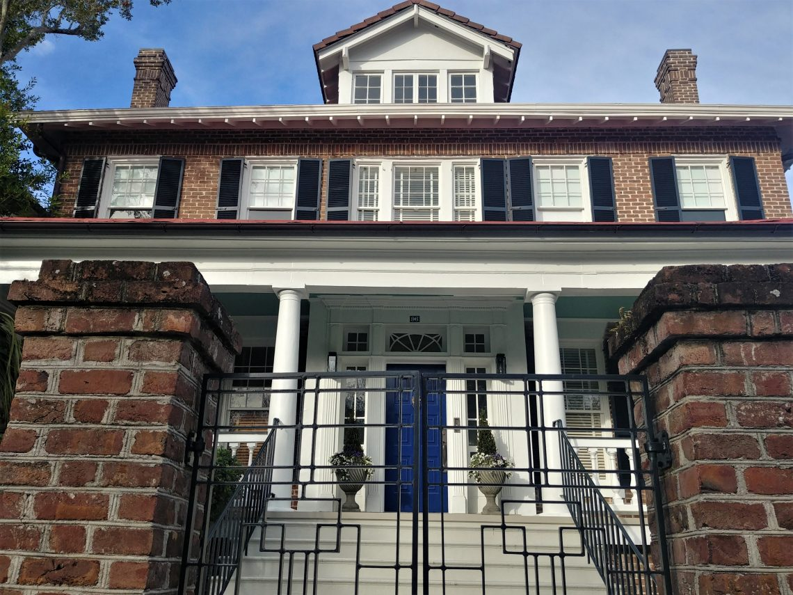 You can find this handsome 100 year old house at the corner of South Battery and Limehouse Street. The blue on the door is unusual to find used this way in Charleston.