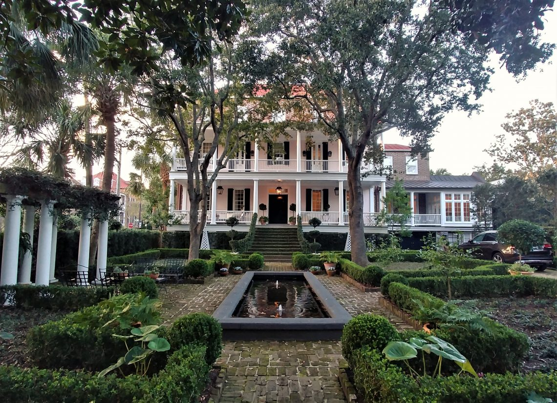 This beautiful house was built in about 1799, but was moved from its original location -- which was about 100 feet north of the current spot -- in 1967. It was moved to make way for the development around what is now the Charleston Gaillard Center. You'd never know that this was not its original home.