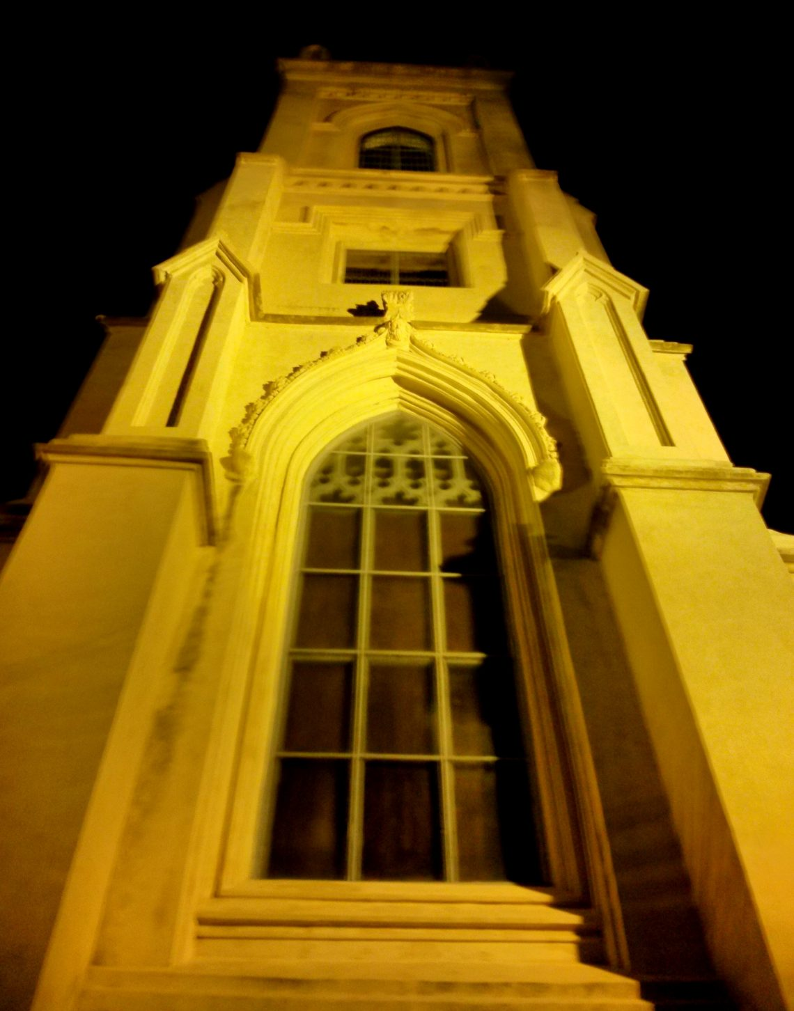 The steeple of the Unitarian Church looks beautiful, and a bit spooky, at night. The construction of the church began in 1772 and wasn't completed until 1787 -- as work was suspended for the duration of the British occupation of Charleston during the Revolutionary War.