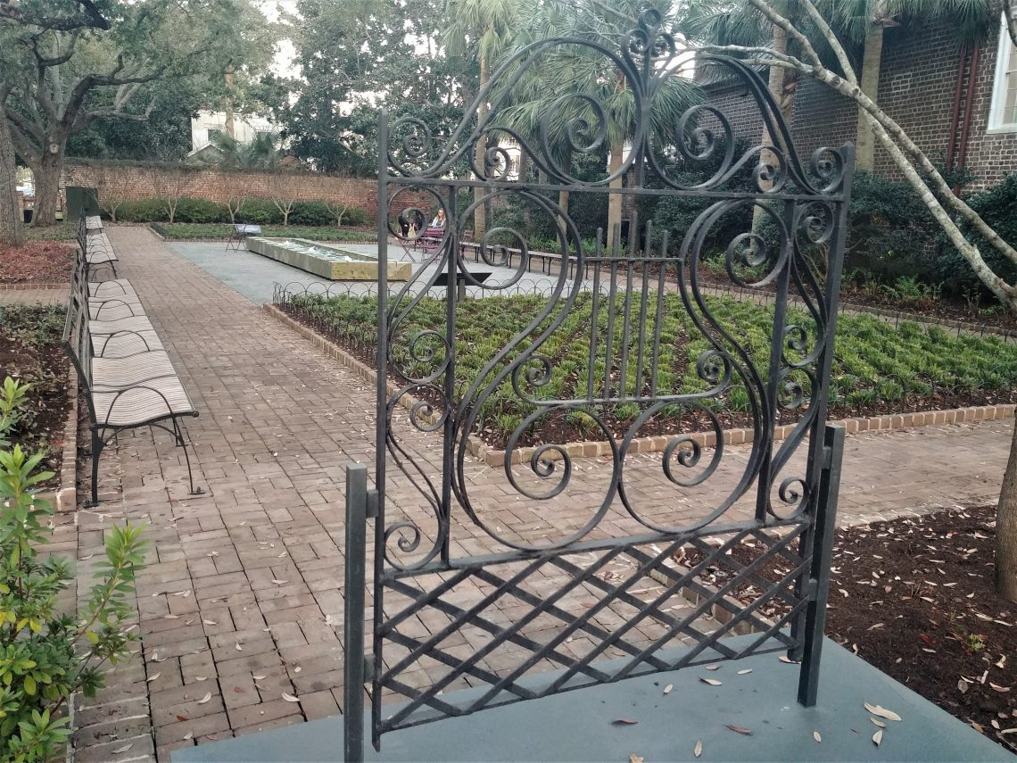 Theodora Park is one of Charleston's cool pocket parks -- located right across from the Gaillard Center on George Street. This stand-alone gate by Phillip Simmons honors all the contributions he made to the beauty of Charleston.