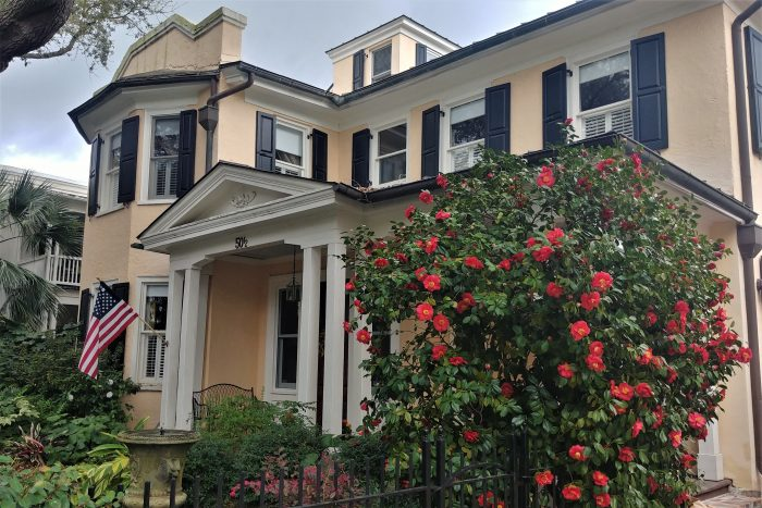 This house on Legare Street, just down the street from the Cathedral of St. John the Baptist, is looking ready for spring.