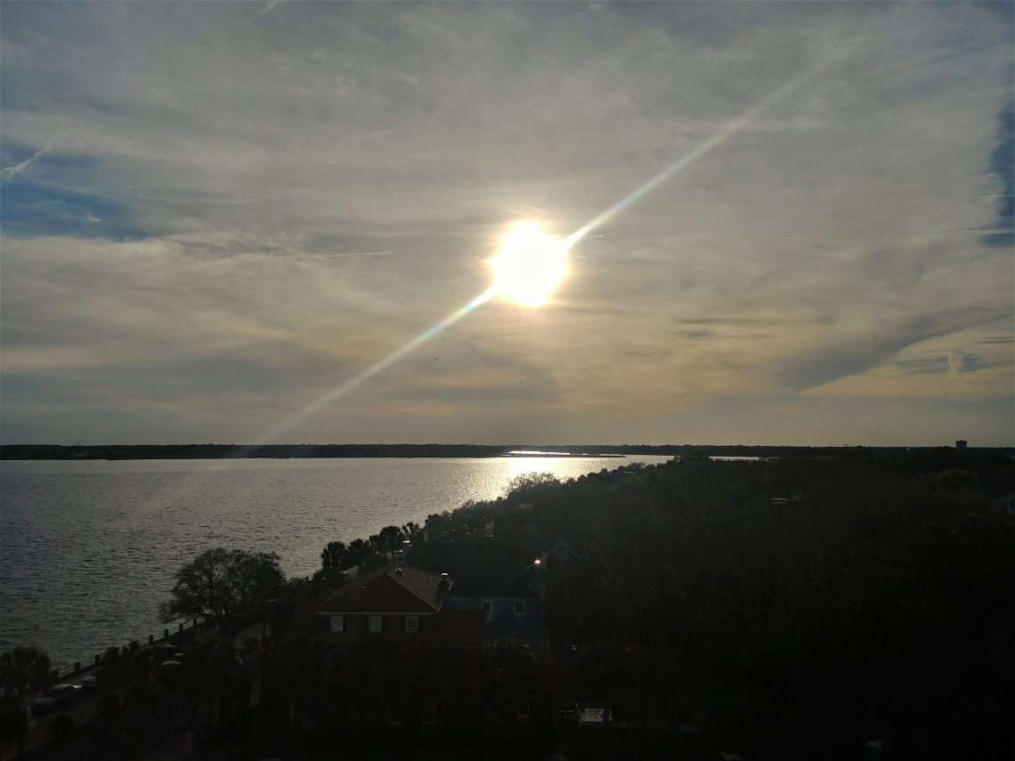 A lovely late afternoon view of the Ashley River from the Fort Sumter House, which was once the home of John F. Kennedy when he was posted to Charleston in the navy. From there he was shipped to the Pacific, where he took command PT-109.