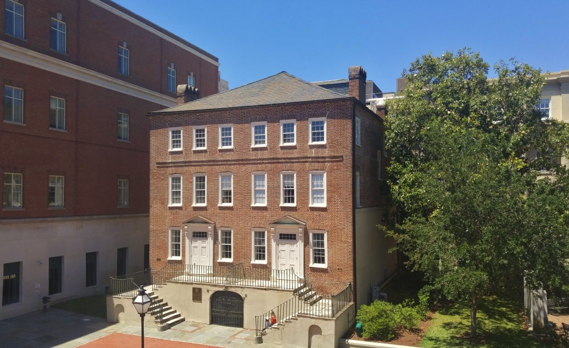The Blake Tenement was built between 1760 and 1772. Once a free-standing structure, it is now part of the Charleston County Judicial Center complex.
