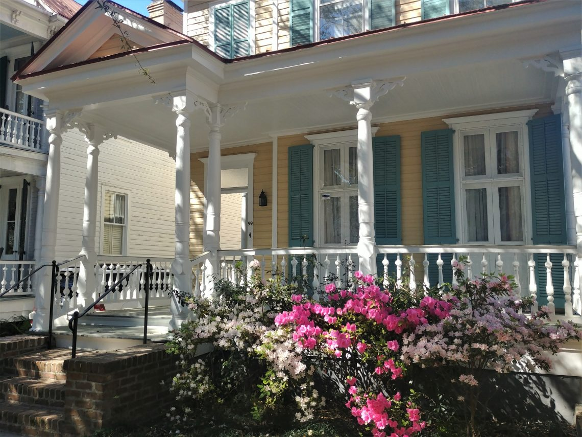 This pretty house on Church Street, and a number of other similar looking houses in the area, was built by something called the Charleston Improvement Corporation (CIC) in about 1906. Now a gorgeous residential area in the heart of the historic district, the property had previously been used for industrial purposes by the Charleston Hydraulic Press Company.