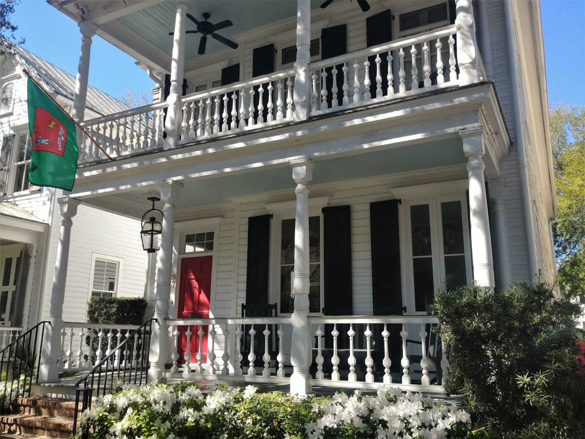 """The ceilings of the porches of this pretty house on Church Street are painted """"haint blue"""" -- to keep the """"haints"""" away. A haint is an spirit or ghost, which you definitely don't want in your house. (Some people say it also helps keeps the bugs away, but that's just a side benefit.)"""