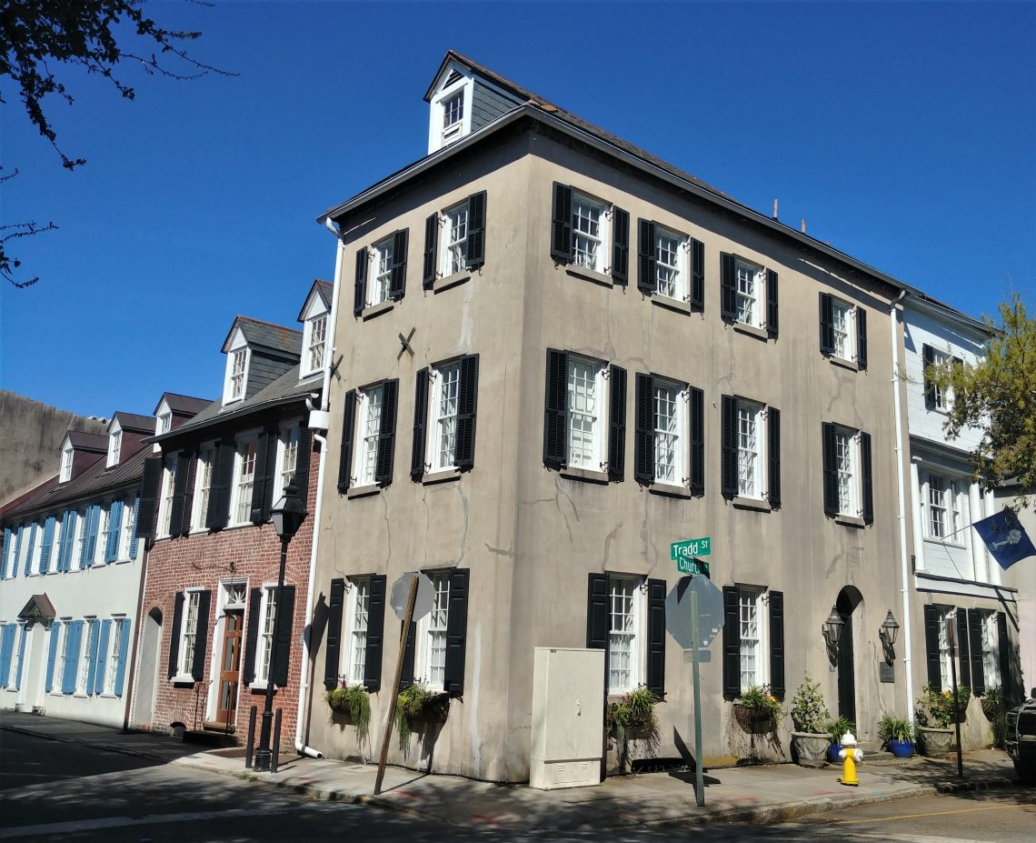 This beautiful corner is the intersection of Tradd and Church Streets. It traces its roots to well before the American Revolution. George Washington even slept just a few houses up the street on a presidential visit to Charleston in 1791.