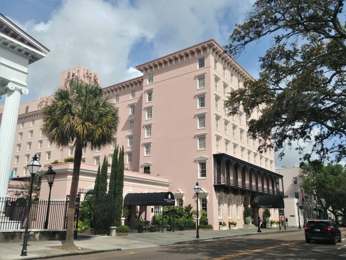 The Mills House hotel on Meeting Street, traces its history back to 1853. Fortunately, it survived all the destruction in Charleston during the Civil War, which allowed it to host Glimpses' wedding reception in 1999  :)