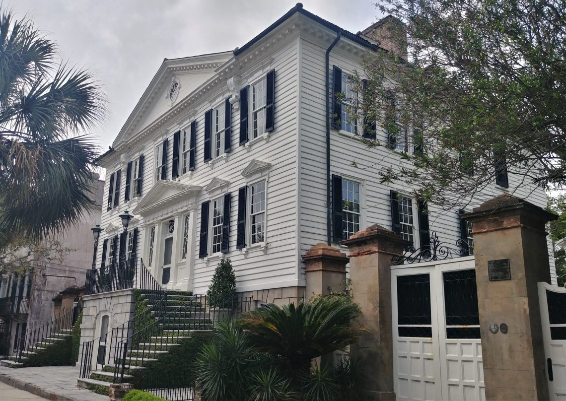 William Gibbes, a wealthy planter who built this house in about 1772, never thought it would be seen from the street from this angle. He had expected people to approach the house by boat from the Ashley River -- into which he had built a 300 foot wharf. You can now cruise by it on South Battery.