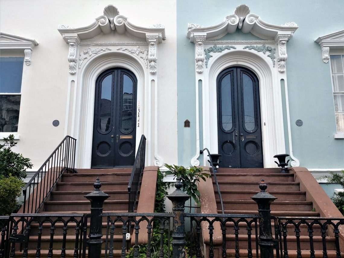 """These twin doors on Bull Street were part of what was nicknamed """"Bee's Block"""" during the Civil War. It was named after their owner William C. Bee, who at the time owned a blockade-running firm."""