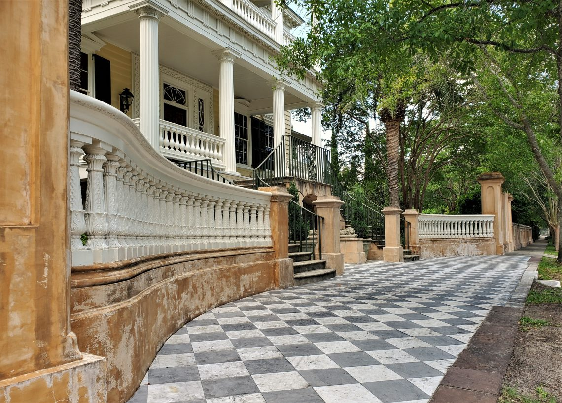 Following the Civil War, the citizens of Charleston gathered here (the Gaillard-Bennett House) to greet Robert E. Lee -- who spoke to them from the second level of the portico. Even without that, it's a pretty memorable sidewalk and house.