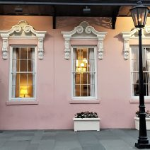 The Mills House Hotel on Meeting Street is a distinctive beautiful pink building, with wonderful details.