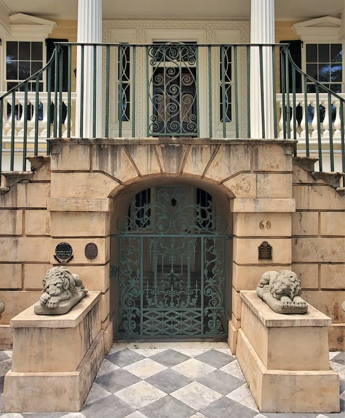These semi-aware lions guard the beautiful entrance of the Gaillard-Bennett House on Montagu Street. Robert E. Lee stayed there on his post war visit to Charleston.
