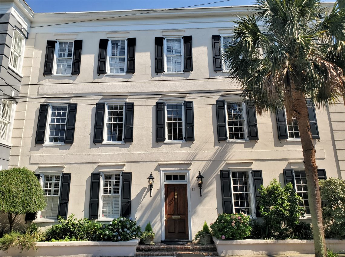 """Built in 1838, this handsome house on Society Street is located in the Ansonborough neighborhood. Ansonborough is the original """"borough"""" of Charleston -- which dates back to at least 1726."""