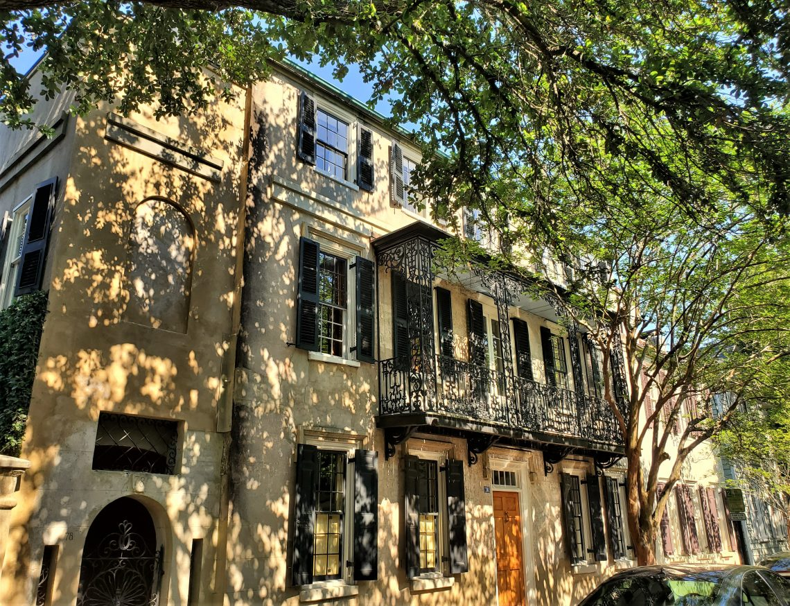 This beautiful sun-dappled house on Church Street dates back to 1785. The cast ironwork was added in the 1820's. The difference between cast and wrought iron is that cast iron comes from the molten metal being poured into a mold, while wrought iron is shaped by hand (usually the hot metal is hammered into shape).
