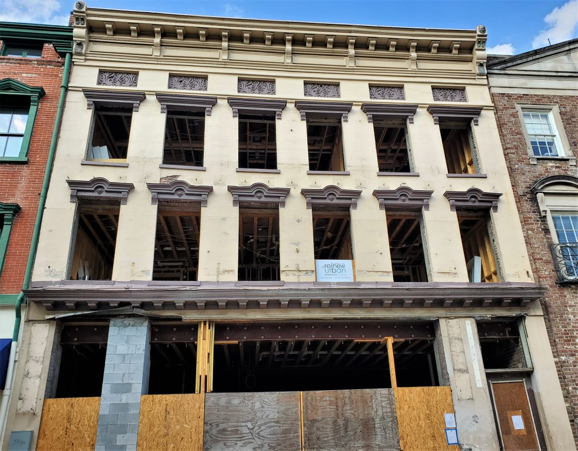 When the 200 year old facade of this building on King Street started bowing out and threatening to fall and crush pedestrians, the Nicks BBQ that had been there for 12 years had to move out. While no one was injured and the building has been stabilized and is being rehabilitated, the cheese biscuits they served have been missed.