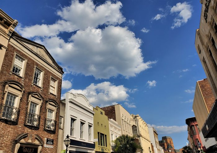 The top of the facades along King Street on a beautiful Charleston day.