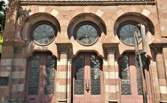 """This very cool looking building on East Bay Street was built as a bank, but later became the home for a restaurant -- Saracen. The name of the restaurant came from the Moorish Revival style of architecture that was described as """"Saracenic."""""""