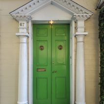An historic door on a c. 1818 Smith Street house, across from the 60 Bull Cafe, with a very distinctly not historic light!
