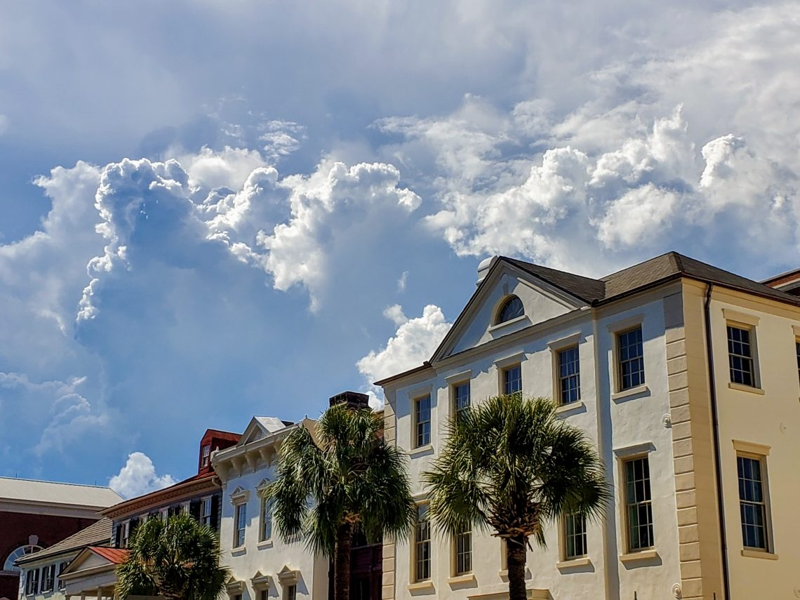 A dramatic scene along Broad Street in Charleston.