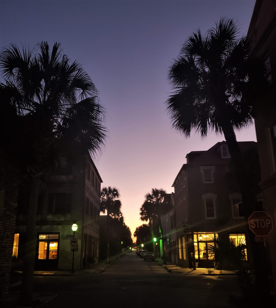 A beautiful Charleston evening as seen from the corner of Queen and State Streets.